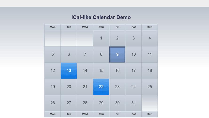 jquery制作漂亮的UI渐变提示日历代码