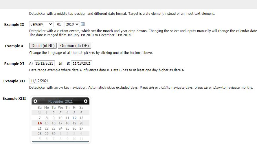 mootools实现同页面不同日期选择代码