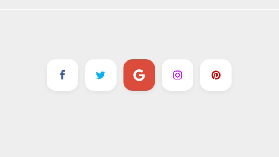 精美简洁的CSS3社交媒体图标按钮悬停动画代码